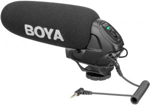 BOYA BY-BM3030 On-Camera Shotgun Condenser Microphone Mic Supercardioid Intergrated Shock Mount 3.5mm Plug with Windscreens Carry Pouch for DSLR Cameras