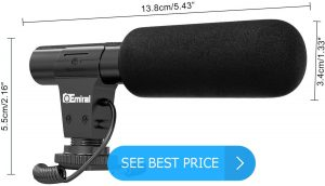 Camera Microphone, Emiral Video Microphone for DSLR Interview with +20db Enhancement