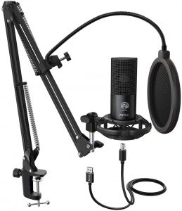 FIFINE Studio Condenser USB Microphone Computer PC Microphone Kit with Adjustable Scissor Arm Stand Shock Mount for Instruments Voice Overs Recording...