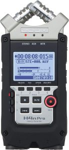 """Zoom H4n Pro 4-Track Portable Recorder, Stereo Microphones, 2 XLR/ ¼"""" Combo Inputs, Guitar Inputs, Battery Powered, for Stereo/Multitrack Recording of Music, Audio for Video, and Podcasting"""